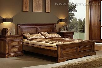 Деревянная двуспальная кровать Милана Люкс (черешня)