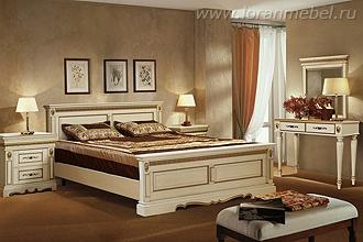 Дубовая двуспальная кровать Милана Люкс(слоновая кость с золочением)