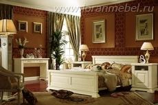 Спальня Верди Люкс 7, слоновая кость с патиной (массив дуба)(без ДСП)